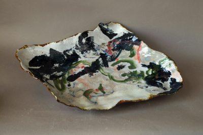 Brigitte Penicaud – bemalte Platte – 61×40 cm – galerie metzger art gallery ceramic