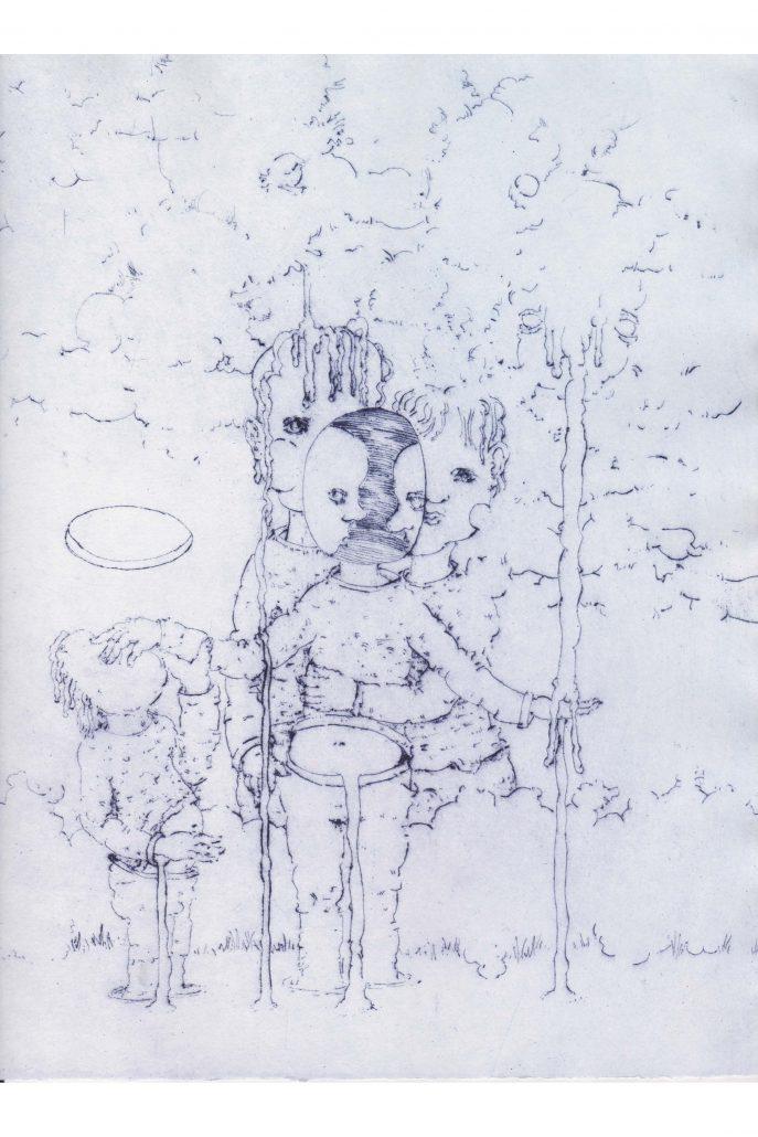 Michael Kalmbach –Familiengeschichte –2019, Kaltnadelradierung, 29x23,5cm –galerie metzger zeitgenoessische kunst aschaffenburg