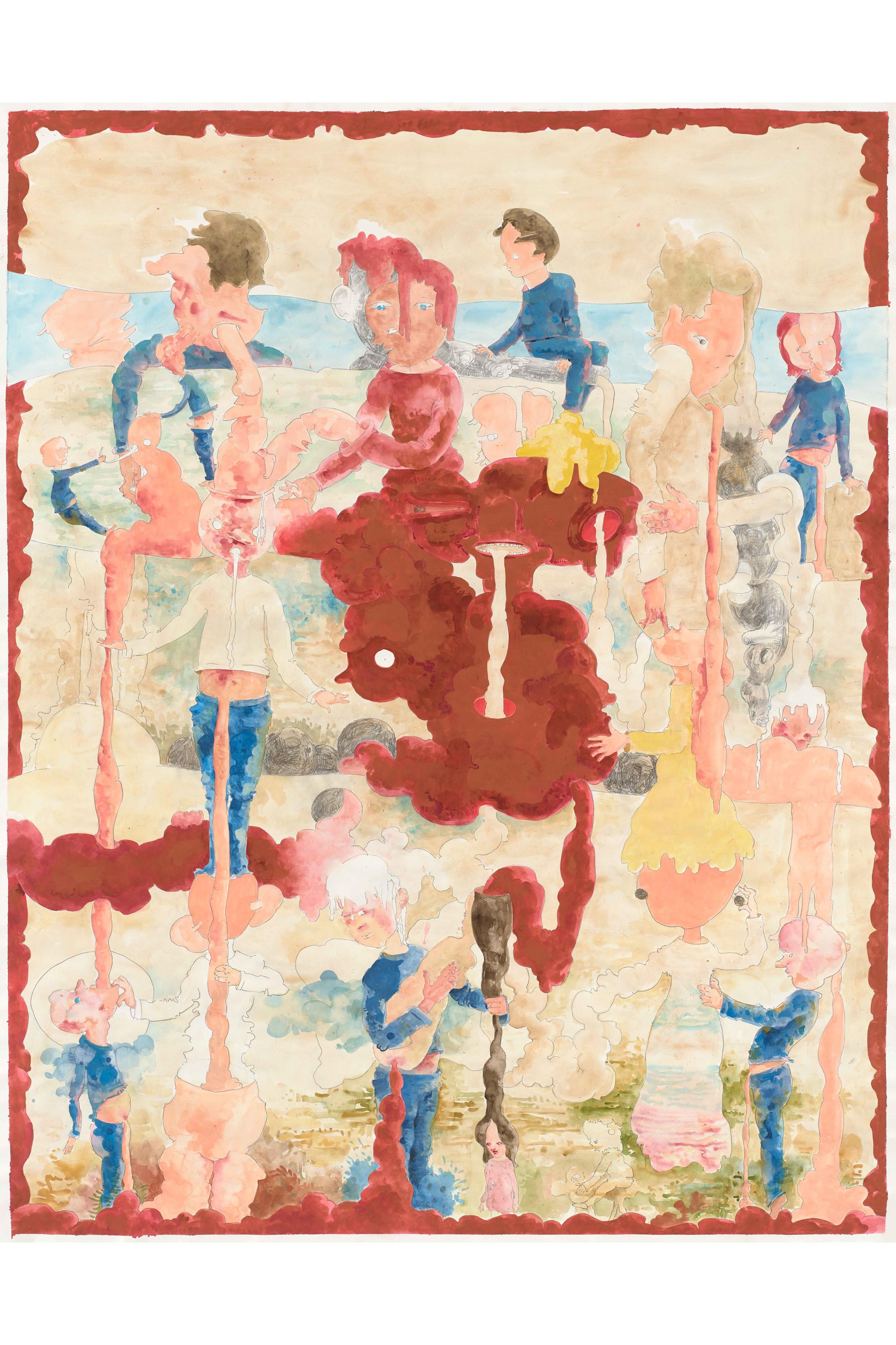 Michael Kalmbach –Trickle Down Theorie –2019, Gouche-Bleistift auf Papier, 150x117cm –galerie metzger art kunst gallery