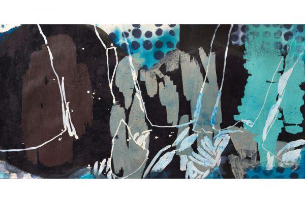 Claudia Spielmann - Landscape orange - 96 x 187 cm - Tusche auf Papier 2012 galerie metzger painting art gallery